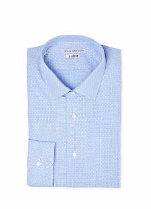 camicia uomo John Barritt vestibilita slim, collo italiano, manica lunga a quadri microflanella, color bordeaux/blu. Composizione 100% cotone. Azzurro Carta Da Zucchero