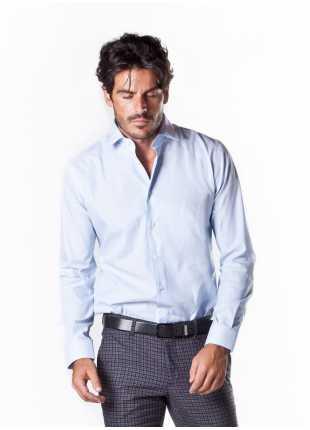 camicia uomo John Barritt vestibilita slim, collo italiano, manica lunga in jacquard, color azzurro. Composizione 100% cotone. Azzurro Carta Da Zucchero