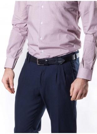 cintura uomo John Barritt, regolabile, altezza 3 cm in vera pelle colore blu, fibbia in metallo galvanica nikel satinato. Composizione 100% pelle. Blue