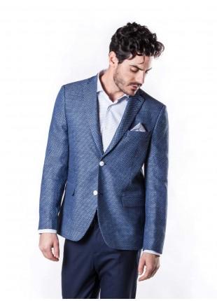 giacca uomo John Barritt vestibilita regular, semi-foderata, due bottoni, doppio spacco, ticket pocket, pochette e amf. Tessuto in misto lino, micro-fantasia, colore blu. Composizione 55% lino 45% viscosa. Bluette