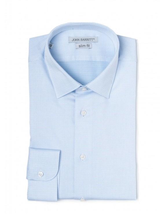 John Barritt Man Shirt, Slim Fit, Cotton Fabric With Micro Pattern  Jacquard, Small Italian Collar, Color White/light ...