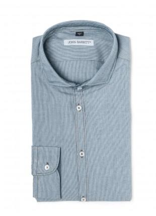 camicia uomo John Barritt, slim fit in denim lavato jacquard, collo francese piccolo. Composizione 100% cotone. Blue
