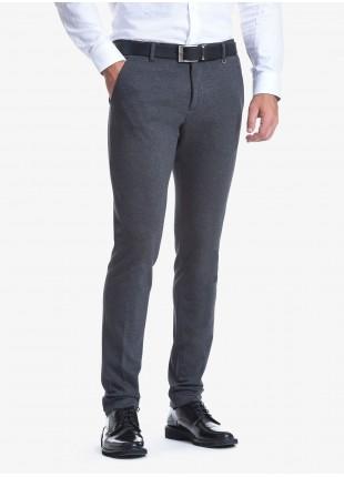 Pantalone sartoriale uomo John Barritt vestibilità slim. Tessuto in maglia. Composizione 100% cotone. Grigio Medio Melange