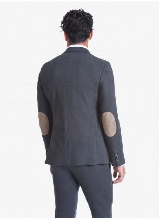 Giacca uomo John Barritt vestibilità slim, foderata, due bottoni, doppio spacco, tasche a pattina, amf e toppe in alcantara a contrasto. Tessuto in maglia, colore grigio. Composizione 100% cotone. Grigio Medio Melange