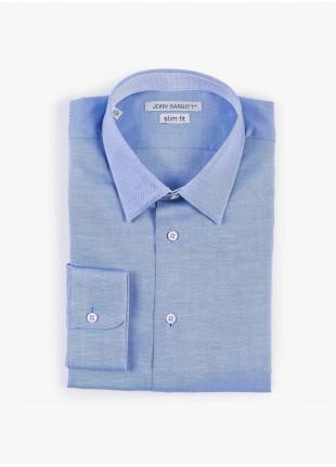 Camicia uomo John Barritt, slim fit, in cotone tinto filo, collo italiano, colore azzurro. Composizione 100% cotone. Azzurro Carta Da Zucchero