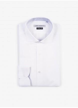 Camicia uomo John Barritt, slim fit, in cotone oxford, mezzo collo francese, colore bianco. Composizione 100% cotone. White