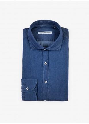 Camicia uomo John Barritt, slim fit, in denim lavato, mezzo collo francese, colore blu. Composizione 100% cotone. Bluette