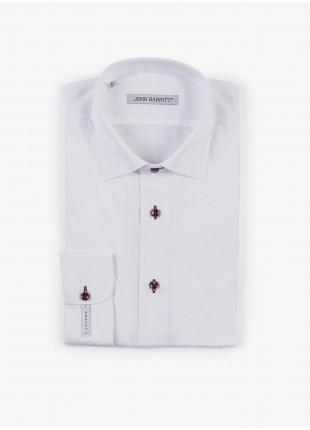 Camicia uomo John Barritt, slim fit, in cotone bianco, mezzo collo francese, asole e bottoni colorati. Composizione 100% cotone. White
