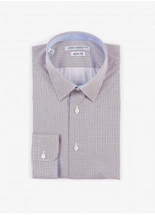 Camicia uomo John Barritt, slim fit, in cotone stampato, collo italiano, colore blu/marroncino. Composizione 100% cotone. White