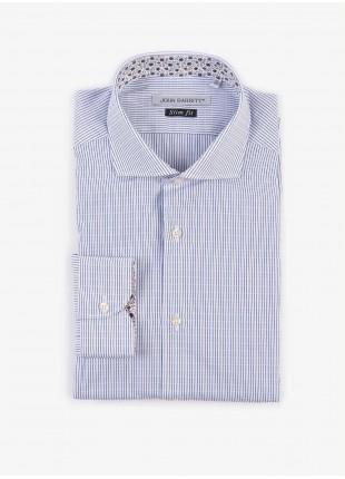 Camicia uomo John Barritt, slim fit, in cotone jacquard a righe, mezzo collo francese, colore bianco/blu. Composizione 100% cotone. White