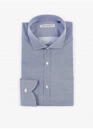 Camicia uomo John Barritt, slim fit, in cotone stampato, mezzo collo francese, colore bianco/blu. Composizione 100% cotone. White