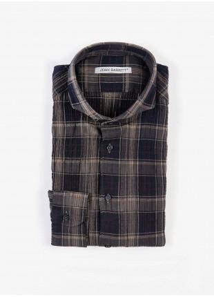 Camicia uomo John Barritt, slim fit, in flanella leggera con effetto stropicciato, collo francese, fantasia a quadri, colore blu/marrone. Composizione 100% cotone. Marron Chiaro