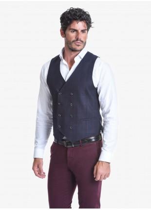 Gilet doppiopetto uomo John Barritt, vestibilità slim, tessuto in misto lana, fantasia a quadri. Composizione 50% lana 35% poliestere 15% cotone. Blue