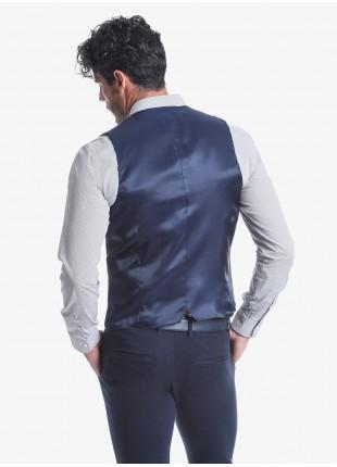 Gilet uomo John Barritt, vestibilità slim, bottoni colorati, tessuto in fustagno lavato. Composizione 100% cotone.  Marrone Bruciato