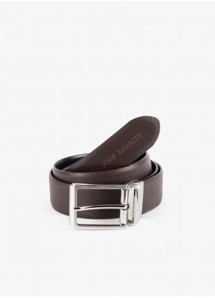 Cintura uomo John Barritt, regolabile, altezza 3,5 cm, double-face, in vera pelle palmellato moro/liscio nero. Fibbia in metallo galvanica nikel satinato. Composizione 100% pelle. Marron Chiaro