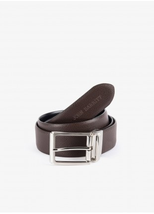 John Barritt man belt, adjustable, height 3,5, cm, double-face, in real leather boarded brown/plain black. Satin nikel metal buckle. Composition 100% lamb leather. Light Brown