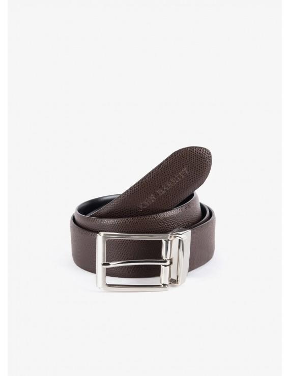 5863f378c4 Cintura uomo John Barritt, regolabile, altezza 3,5 cm, double-face, in vera  pelle palmellato moro/liscio nero. Fibbia in metallo galvanica nikel ...