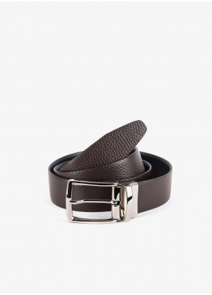 John Barritt man belt, adjustable, height 3,5, cm, double-face, in real leather hammered brown/black. Satin nikel metal buckle. Composition 100% lamb leather. Light Brown