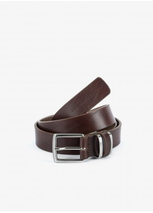 John Barritt man belt, adjustable, height 3,5, cm, in real leather. Color brown. Metal and leather double buckle. Composition 100% lamb leather. Dark Brown