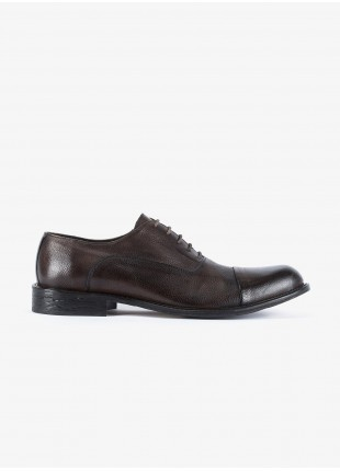 John Barritt man low lace-up french shoes, in real leather, color dark brown. Leather sole with rubber insert. Composition 100% lamb leather. Light Brown