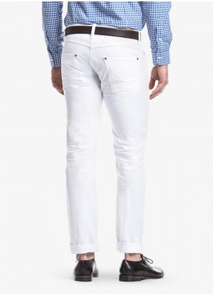 John Barritt man five pockets jeans, slim fit, in stretch denim color white. Composition 98% cotton 2% elastane. White