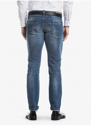John Barritt man five pockets jeans, slim fit, in stretch denim, color blue, stone wash with repairs . Composition 98% cotton 2% elastane. Bluette