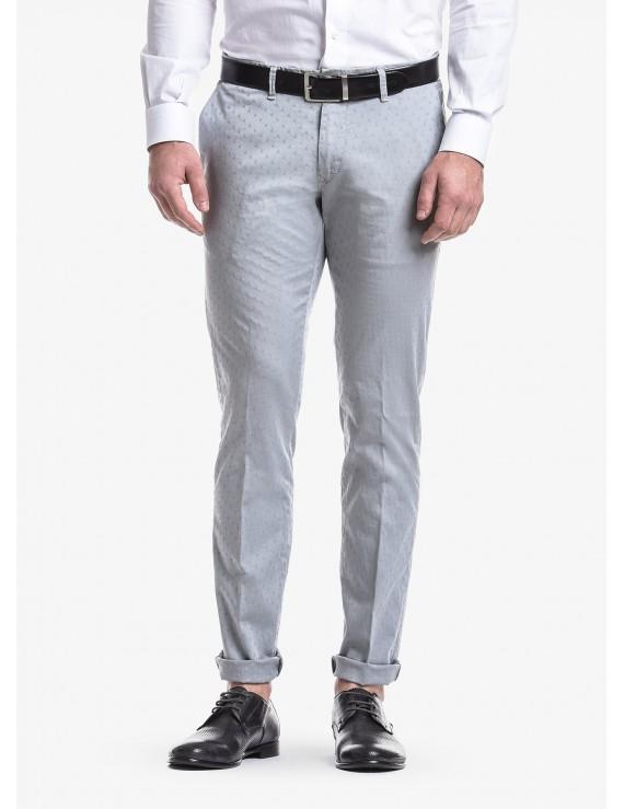 a29947cd2937b2 Pantalone chinos uomo John Barritt, vestibilita slim, in cotone  elasticizzato tinto in capo con micro jacquard.