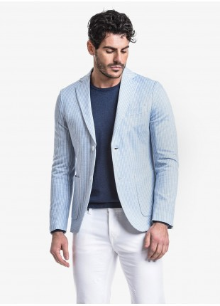 John Barritt man jacket, slim fit, full body lining, two buttons, double vent, patch pockets and pochette. Jersey fabric with stripes design, color light-blue. Composition 100% cotton.  Ice