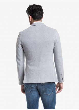 John Barritt man jacket, slim fit, full body lining, two buttons, double vent, patch pockets and pochette. Jersey fabric, color light grey. Composition 100% cotton. Light Grey Melange