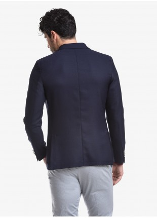 John Barritt man jacket, slim fit, half body lining, two buttons, double vent, patch pockets. Mixed wool fabric, color blue. Composition 50% wool 50% polyester. Blue
