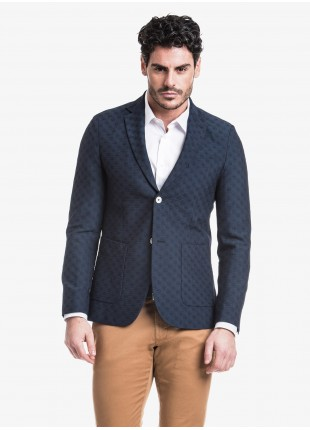 John Barritt man jacket, slim fit, half body lining, two buttons, double vent, patch pockets. Jacquard fabric, color blue. Composition 54% polyester 45% pure wool 1% elastane.  Bluette