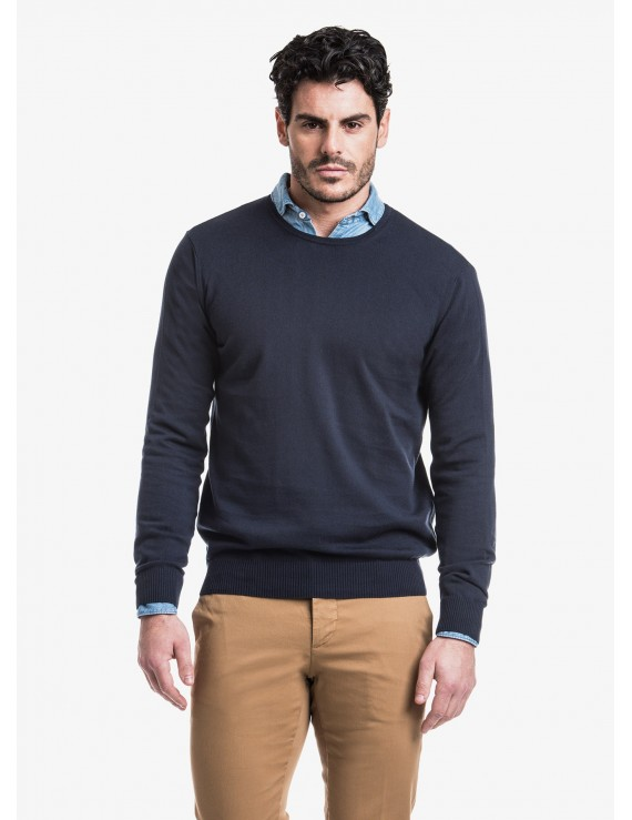 John Barritt man crew neck sweater, slim fit, cotton blend, color blue. Composition 100% cotton. Blue