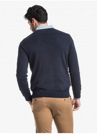 John Barritt man crew neck sweater, slim fit, cotton blend, color blue. Composition 100% cotton. Blue