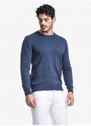 Maglia uomo John Barritt vestibilita slim, girocollo, in puro cotone, colore azzurro melange. Composizione 100% cotone.  Azzurro Carta Da Zucchero