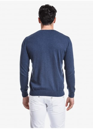 John Barritt man crew neck sweater, slim fit, cotton blend, color blue melange. Composition 100% cotton. Blue Paper From Sugar