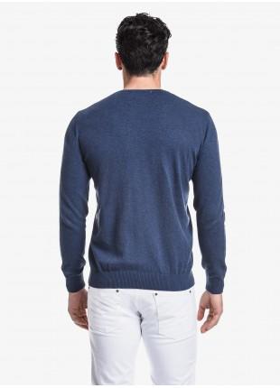 John Barritt man crew neck sweater, slim fit, cotton blend, color blue melange. Composition 100% cotton. Blue Paper From Sugar