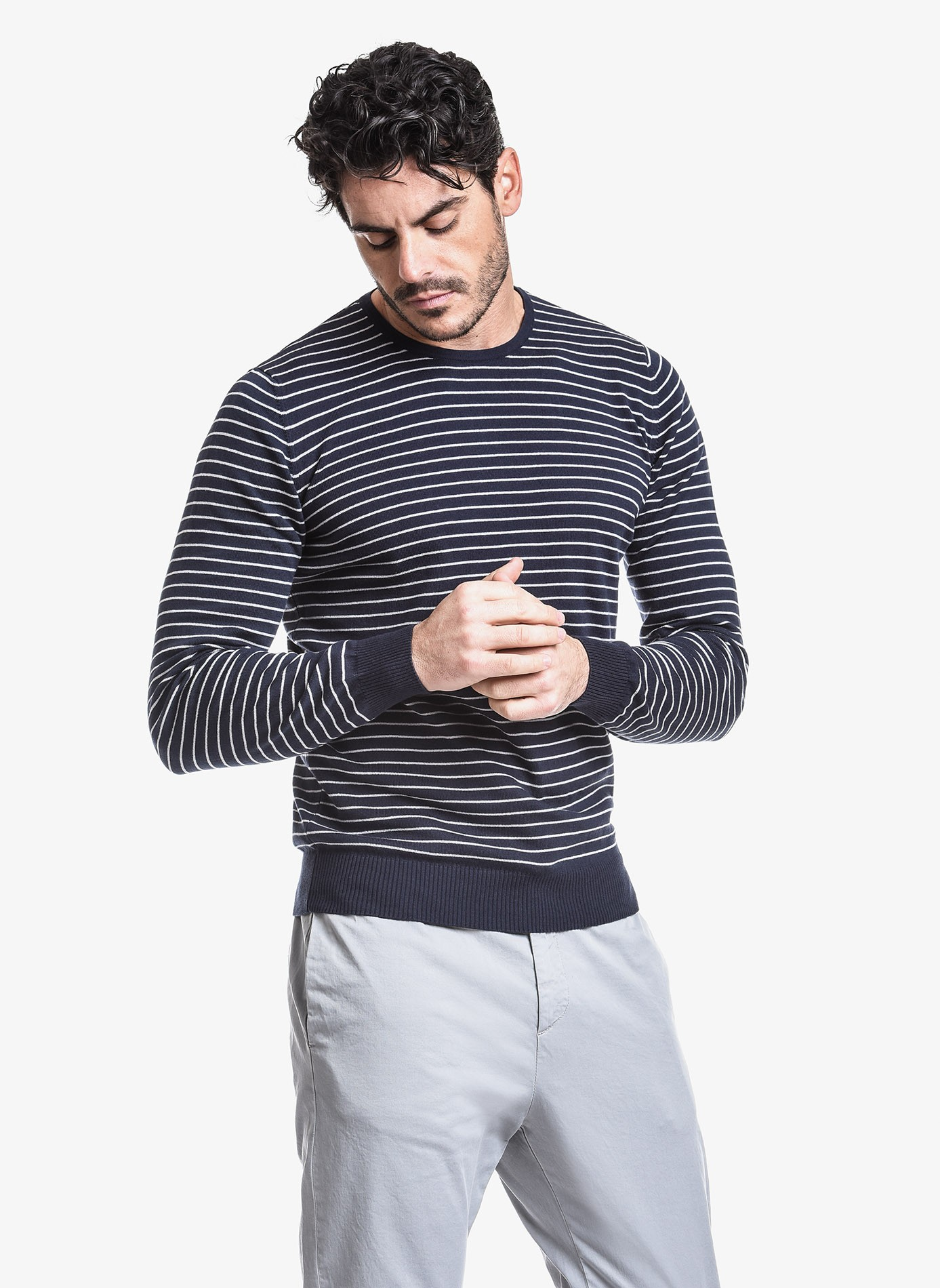 5b8670201e06 John Barritt man crew neck sweater, slim fit, cotton blend, color blue with  white stripes. Composition 100% cotton. Blue