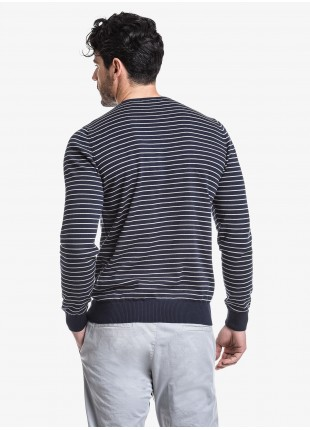 John Barritt man crew neck sweater, slim fit, cotton blend, color blue with white stripes. Composition 100% cotton. Blue