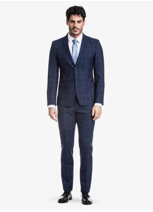 John Barritt spring-summer man suit, slim fit, two buttons, double vent and amf. Lenght jacket 72 cm. Mixed wool fabric with check design. Composition 70% wool 30% polyester. Bluette
