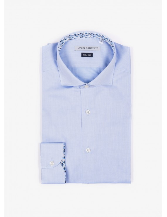 John Barritt man shirt, slim fit, cotton twill fabric, french collar, color light-blue. Composition 100% cotton. Blue Paper From Sugar