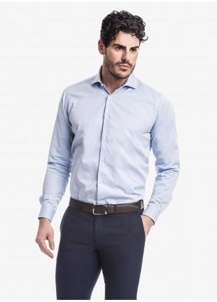 Camicia uomo John Barritt, slim fit, in twill di cotone, mezzo collo francese, colore azzurro. Composizione 100% cotone.  Azzurro Carta Da Zucchero