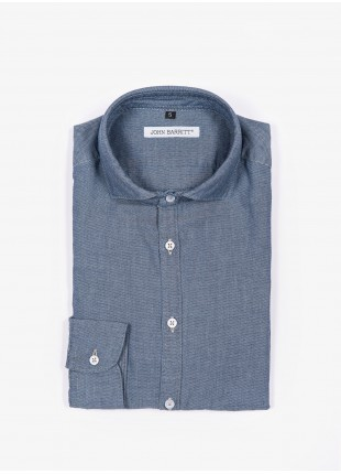 John Barritt man shirt, slim fit, denim fabric with micro design, french collar, color medium blue. Composition 100% cotton. Blue