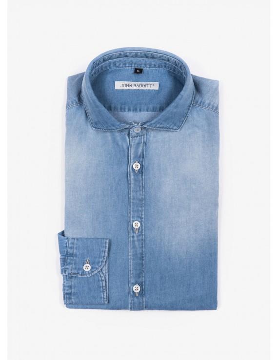 Camicia uomo John Barritt, slim fit, in tessuto denim, mezzo collo francese, colore blu chiaro. Composizione 100% cotone. Blue