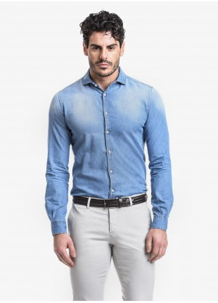 John Barritt man shirt, slim fit, denim fabric , french collar, color light blue. Composition 100% cotton. Blue