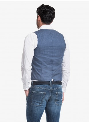 John Barritt man gilet, slim fit, mixed cotton fabric with mini stripes pattern. Composition 76% cotton 23% polyamide 1% elastane.               Blue Paper From Sugar