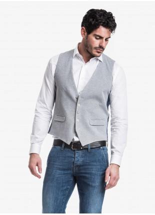Gilet uomo John Barritt, vestibilita slim, tessuto in maglia, colore grigio chiaro. Composizione 100% cotone.           Grigio Chiaro Melange