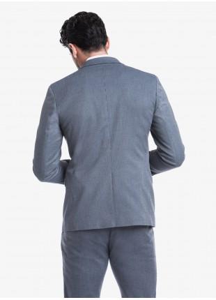 Giacca uomo John Barritt vestibilita slim, foderata, due bottoni, doppio spacco, tasche a pattina, revers a lancia. Tessuto in cotone stretch con micro struttura, colore blu. Composizione 97% cotone 3% elastan.  Blue