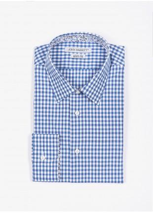 Camicia uomo John Barritt, slim fit, in cotone con fantasia a quadretti, collo italiano, colore azzurro. Composizione 100% cotone. Bluette