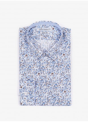 John Barritt man shirt, slim fit, printed cotton fabric with flower pattern, italian collar, color light-blue. Composition 100% cotton. Blue