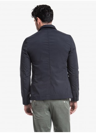 John Barritt man jacket, slim fit, in stretch nylon fabric with mesh lining, closure with three buttons, patch pockets with flap and fold. Composition 92% polyamide 8% elastane. Blue